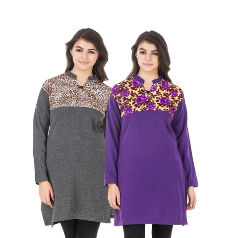 COMBOS-Multi Color Wool Stiched Kurtis - HKURTI-DGRY-PURPLE