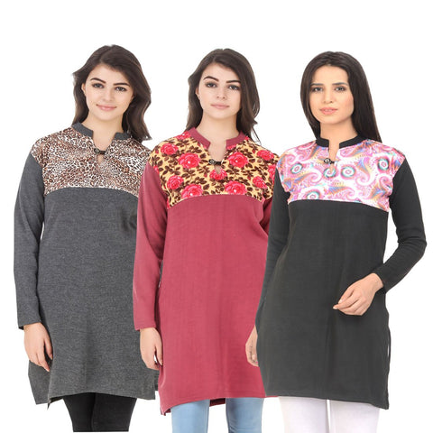 COMBOS-Multi Color Wool Stitched Kurtis - HKURTI-DGRY-RED-BLACK