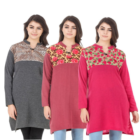 COMBOS-Multi Color Wool Stitched Kurtis - HKURTI-DGRY-RED-DPINK