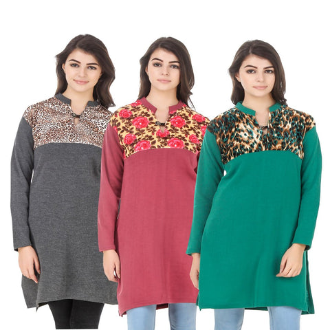 COMBOS-Multi Color Wool Stitched Kurtis - HKURTI-DGRY-RED-GREN
