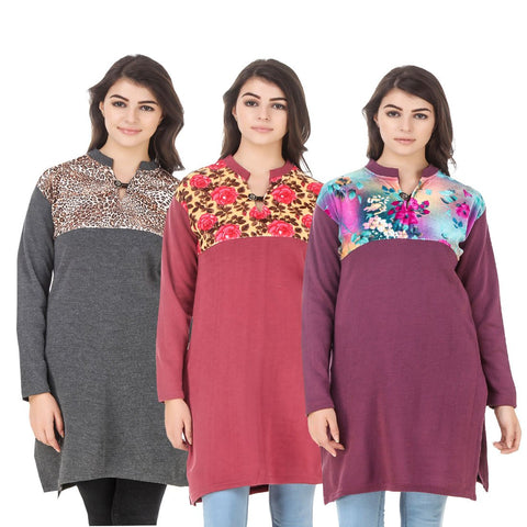 COMBOS-Multi Color Wool Stitched Kurtis - HKURTI-DGRY-RED-MARON