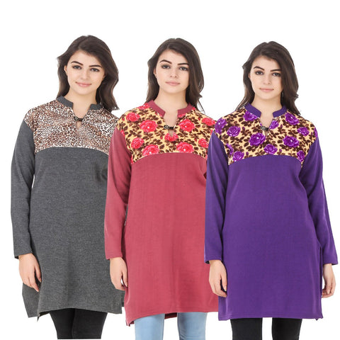COMBOS-Multi Color Wool Stitched Kurtis - HKURTI-DGRY-RED-PURPLE