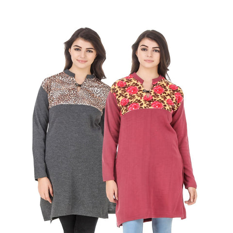 COMBOS-Multi Color Wool Stiched Kurtis - HKURTI-DGRY-RED