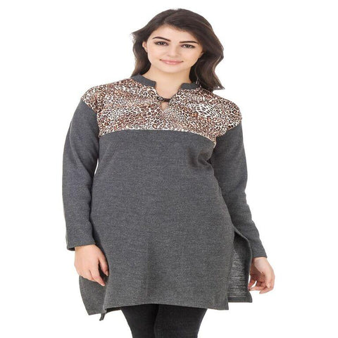 Dark Grey Color Wool Stitched Kurti - HKURTI-DGRY