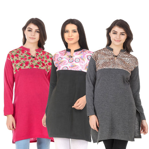 COMBOS-Multi Color Wool Stitched Kurtis - HKURTI-DPINK-BLACK-DGRY