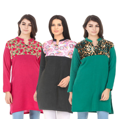 COMBOS-Multi Color Wool Stitched Kurtis - HKURTI-DPINK-BLACK-GREN