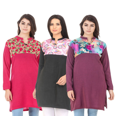 COMBOS-Multi Color Wool Stitched Kurtis - HKURTI-DPINK-BLACK-MARON