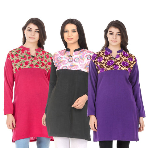 COMBOS-Multi Color Wool Stitched Kurtis - HKURTI-DPINK-BLACK-PURPLE