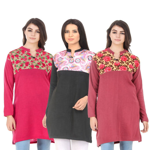 COMBOS-Multi Color Wool Stitched Kurtis - HKURTI-DPINK-BLACK-RED