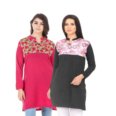 COMBOS-Multi Color Wool Stiched Kurtis - HKURTI-DPINK-BLACK