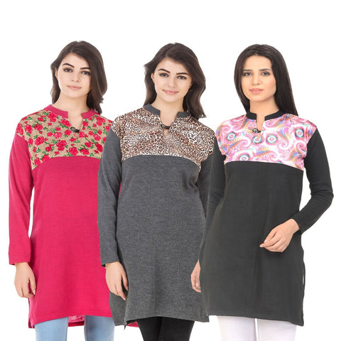 COMBOS-Multi Color Wool Stitched Kurtis - HKURTI-DPINK-DGRY-BLACK