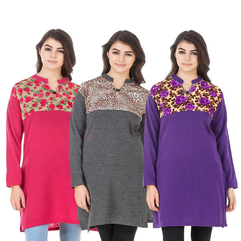 COMBOS-Multi Color Wool Stitched Kurtis - HKURTI-DPINK-DGRY-PURPLE