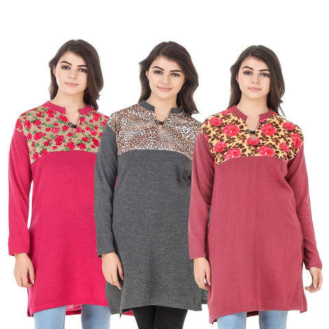 COMBOS-Multi Color Wool Stitched Kurtis - HKURTI-DPINK-DGRY-RED
