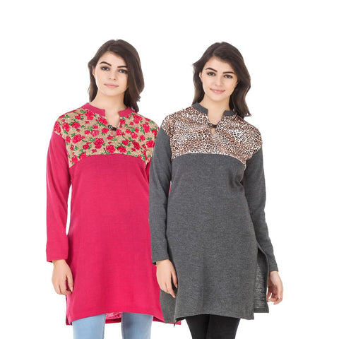 COMBOS-Multi Color Wool Stiched Kurtis - HKURTI-DPINK-DGRY