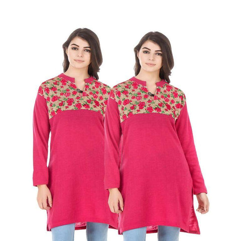 COMBOS-Multi Color Wool Stiched Kurtis - HKURTI-DPINK-DPINK