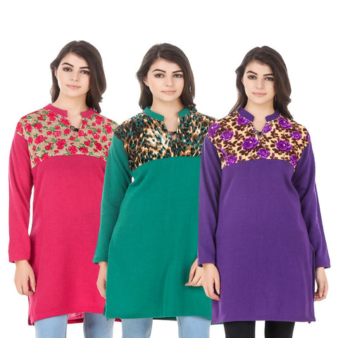 COMBOS-Multi Color Wool Stitched Kurtis - HKURTI-DPINK-GREN-PURPLE