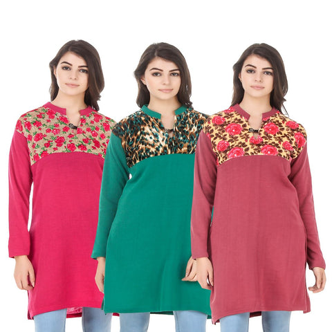 COMBOS-Multi Color Wool Stitched Kurtis - HKURTI-DPINK-GREN-RED