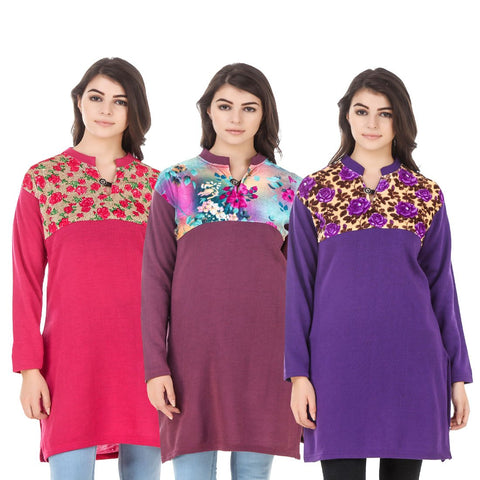 COMBOS-Multi Color Wool Stitched Kurtis - HKURTI-DPINK-MARON-PURPLE