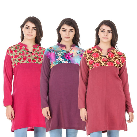 COMBOS-Multi Color Wool Stitched Kurtis - HKURTI-DPINK-MARON-RED