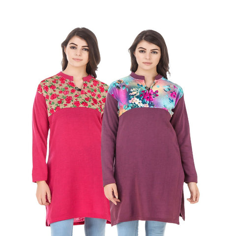 COMBOS-Multi Color Wool Stiched Kurtis - HKURTI-DPINK-MARON