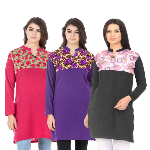 COMBOS-Multi Color Wool Stitched Kurtis - HKURTI-DPINK-PURPLE-BLACK