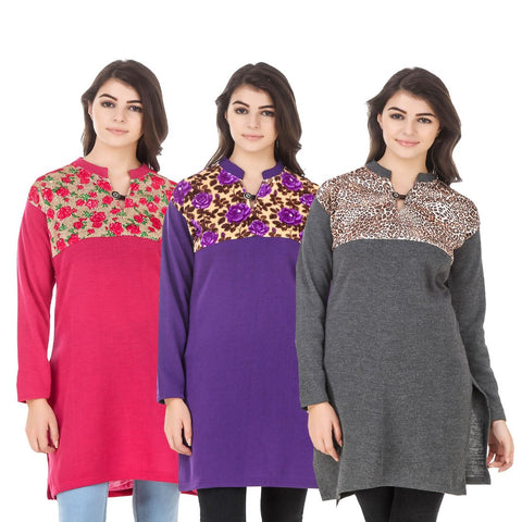 COMBOS-Multi Color Wool Stitched Kurtis - HKURTI-DPINK-PURPLE-DGRY