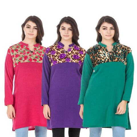 COMBOS-Multi Color Wool Stitched Kurtis - HKURTI-DPINK-PURPLE-GREN
