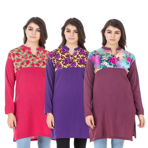 COMBOS-Multi Color Wool Stitched Kurtis - HKURTI-DPINK-PURPLE-MARON