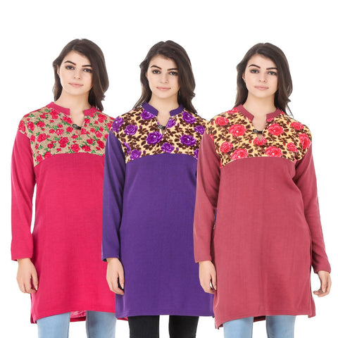 COMBOS-Multi Color Wool Stitched Kurtis - HKURTI-DPINK-PURPLE-RED