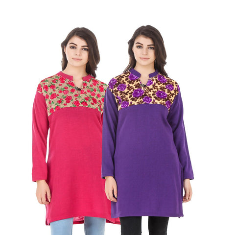 COMBOS-Multi Color Wool Stiched Kurtis - HKURTI-DPINK-PURPLE
