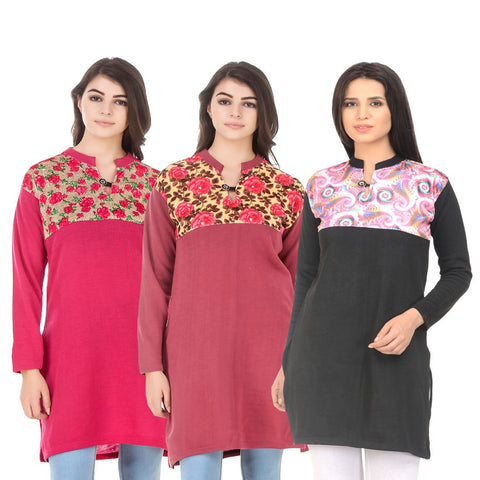 COMBOS-Multi Color Wool Stitched Kurtis - HKURTI-DPINK-RED-BLACK