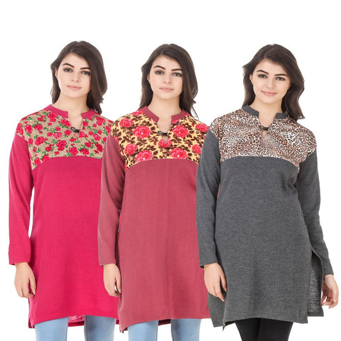COMBOS-Multi Color Wool Stitched Kurtis - HKURTI-DPINK-RED-DGRY