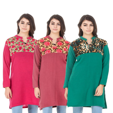 COMBOS-Multi Color Wool Stitched Kurtis - HKURTI-DPINK-RED-GREN