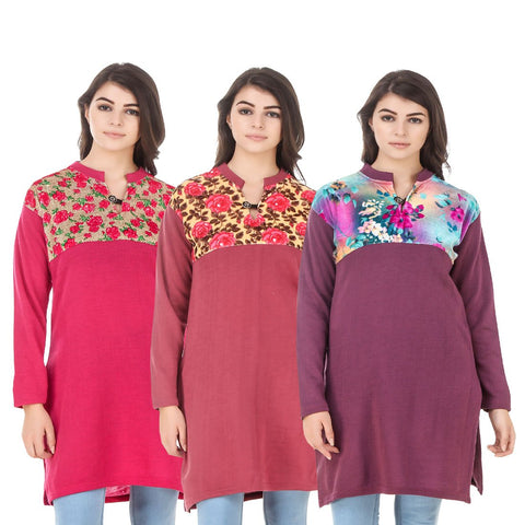COMBOS-Multi Color Wool Stitched Kurtis - HKURTI-DPINK-RED-MARON