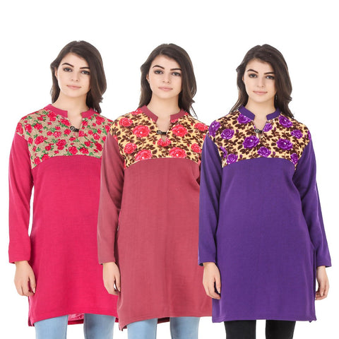 COMBOS-Multi Color Wool Stitched Kurtis - HKURTI-DPINK-RED-PURPLE