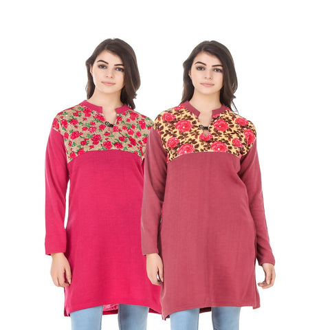 COMBOS-Multi Color Wool Stiched Kurtis - HKURTI-DPINK-RED