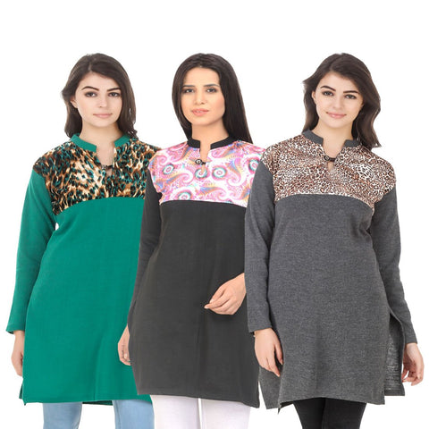COMBOS-Multi Color Wool Stitched Kurtis - HKURTI-GREN-BLACK-DGRY