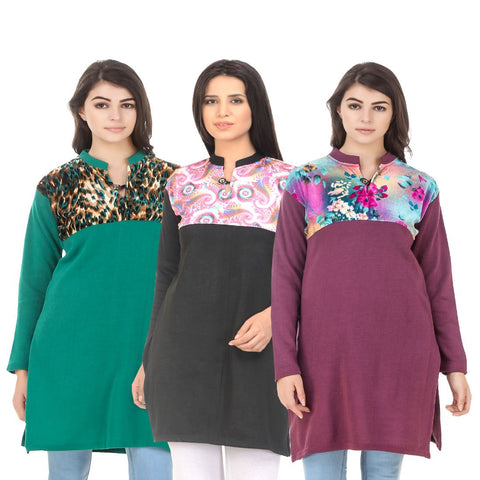 COMBOS-Multi Color Wool Stitched Kurtis - HKURTI-GREN-BLACK-MARON