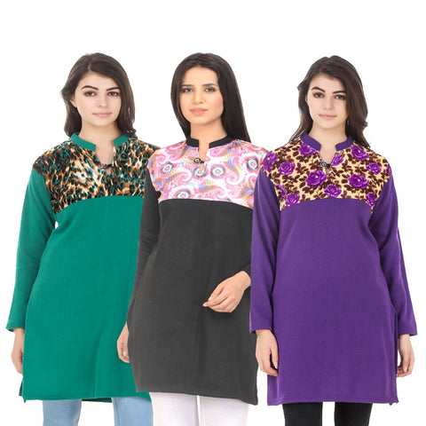 COMBOS-Multi Color Wool Stitched Kurtis - HKURTI-GREN-BLACK-PURPLE