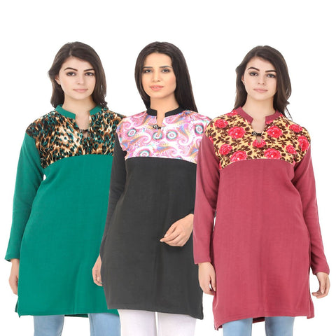 COMBOS-Multi Color Wool Stitched Kurtis - HKURTI-GREN-BLACK-RED