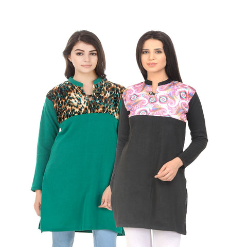 COMBOS-Multi Color Wool Stiched Kurtis - HKURTI-GREN-BLACK
