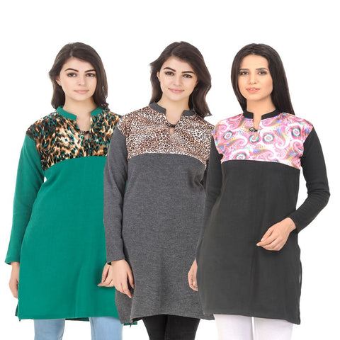COMBOS-Multi Color Wool Stitched Kurtis - HKURTI-GREN-DGRY-BLACK