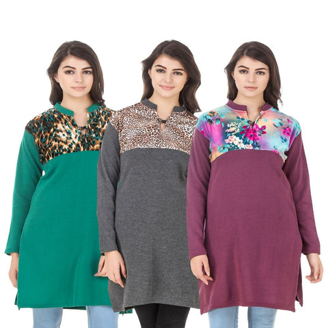 COMBOS-Multi Color Wool Stitched Kurtis - HKURTI-GREN-DGRY-MARON