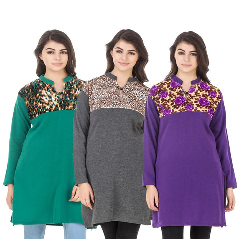 COMBOS-Multi Color Wool Stitched Kurtis - HKURTI-GREN-DGRY-PURPLE