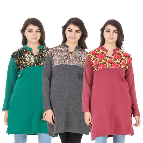COMBOS-Multi Color Wool Stitched Kurtis - HKURTI-GREN-DGRY-RED
