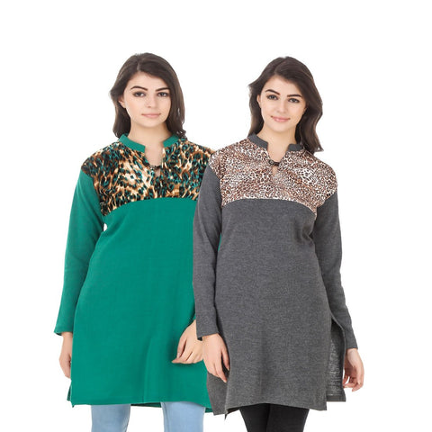 COMBOS-Multi Color Wool Stiched Kurtis - HKURTI-GREN-DGRY