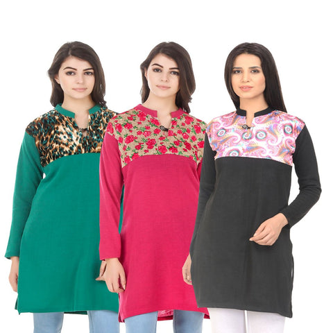 COMBOS-Multi Color Wool Stitched Kurtis - HKURTI-GREN-DPINK-BLACK