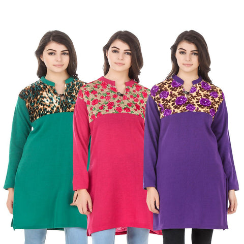 COMBOS-Multi Color Wool Stitched Kurtis - HKURTI-GREN-DPINK-PURPLE