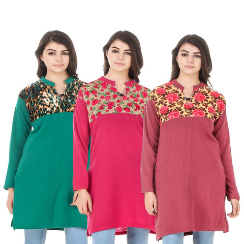 COMBOS-Multi Color Wool Stitched Kurtis - HKURTI-GREN-DPINK-RED