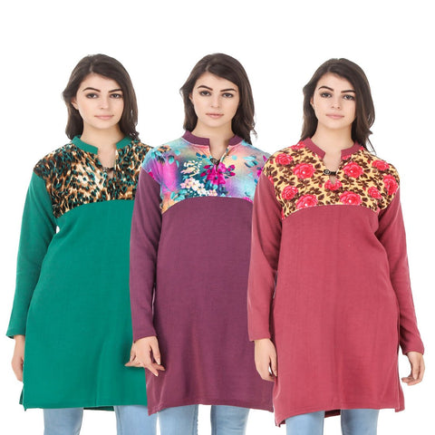 COMBOS-Multi Color Wool Stitched Kurtis - HKURTI-GREN-MARON-RED